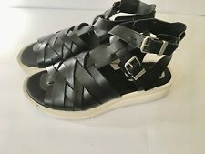 Sam Edelman Circus Black Roman Leather LOEW Sandals Sz 8 1/2