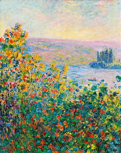 Flower Beds at Vetheuil A1+ by Claude Monet High Quality Canvas Print