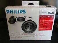 Philips Multi Media USB Powered Portable Notebook Speakers Open Box NICE