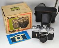 "RUSSIAN USSR ""ZENIT-E"" SLR CAMERA + INDUSTAR-50-2 LENS M42, f3.5/50, BOXED (3)"