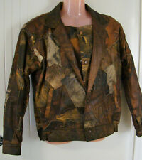 """Billy Pollo"" Brown & grey leather bomber jacket - patchwork - lined - Size M"