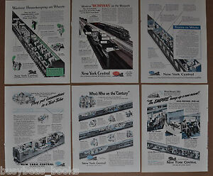 1943-45 NEW YORK CENTRAL RR advertisements x6, NYC, sectional views cars engines