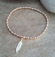 Silver & Rose Gold Ball Beaded Lucky Angel Feather Charm Surfer Stretch Bracelet