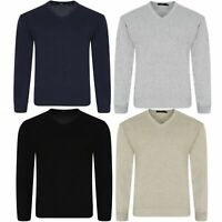 Mens Knitted V Neck Pull Over Jumper plain Fine Cotton Knitwear Warm Sweater Top