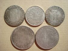 4 x 5 + 10 Gulden 1923 1932 1935 Freie Stadt Danzig Krantor Marienkirche