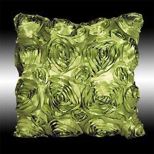 "ELEGANT LIME GREEN 3D RAISED ROSES FAUX SILK THROW PILLOW CASE CUSHION COVER 16"""