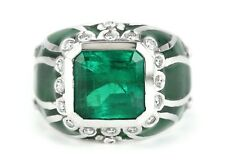 5.29 Carats Square Cut Colombian Emerald Diamond & Enamel Mens Cocktail Ring 18k