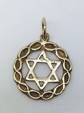 9ct yellow gold 17mm round Star Of David Pendant 1.72 grams with 6mm jump ring