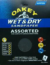 8 x Oakey Wet & Dry Sandpaper Assorted Sheets Sanding Filler Paint Metal Wood