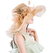 Women Foldable Organza Church Derby Hat Ruffles Wide Brim Summer Bridal Cap