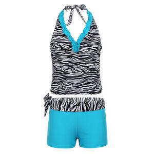 2Pcs Kids Girls Tankini Swimsuit Bikini Tops+Shorts Sets Bathing Suit Beachwear