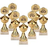 Goldener Pokal mit Jahreszahl Marmorsockel runde Geburtstage volljährig Jubiläen