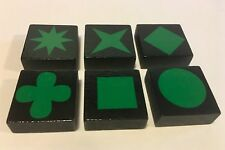 Lot of 6 GREEN QWIRKLE Game Tiles Replacement Parts Pieces Set ONE OF EACH SHAPE
