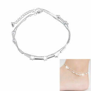 Women Jewelry 925 Silver plated  Infinity Chain Barefoot Ankle Bracelet Sandal