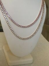 Set of 2 4mm 1 Row Necklace Rose Gold & Pink Solitaire 18-24'' Tennis Chains