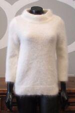 MOTH Small Ivory Angora Rabbit 3/4 Sleeve Mock Turtleneck Sweater Anthropologie