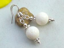 Weiße KORALLE Ohrringe 925er Silber Ohrhänger Edelstein Schaumkoralle 8 10 12mm