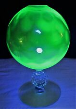 Antique Inverted Diamond Green Uranium Glass Whale Oil Lamp use with Cork Burner
