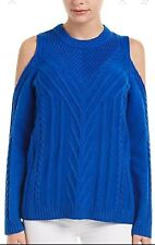 NWT Womens Vince Camuto Blue Cold Shoulder Cable Sweater Sz L Large