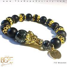 Beaded Dragon Bracelet, Men's Lava Bead Bracelet, Gold Dragon Head Bead Bracelet