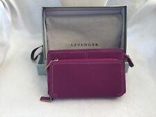 LEVENGER PINK Soft Genuine Leather Zip Around  Wallet In Original Gift Box NEW