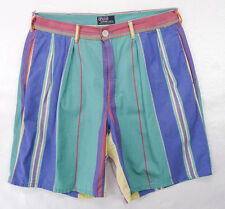 Vintage 90s POLO Ralph Lauren Preppy Multi-Stripe Pleated Cotton Golf Shorts 34