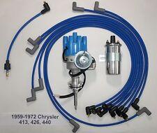 CHRYSLER 440 59-72 BLUE Small Female HEI Distributor+Chrome Coil+Spark Plug Wire