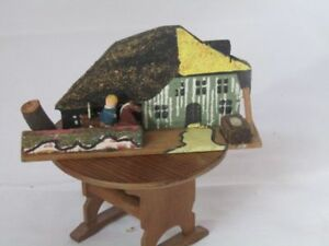 VINTAGE ARTISAN HANDCRAFTED-DECORATED DOLLHOUSE MINIATURE HOUSE AND BOY VF!!