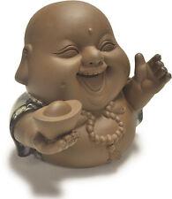 Tea Pet Decoration Laughing Buddha with Gold Ingot Happy Praying Status