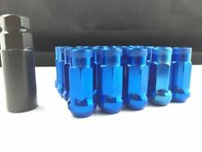 (20) 48MM TUNER STEEL BLUE 20 PCS 12X1.5MM LUG NUTS OPEN END EXTENDED