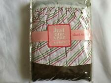 New Carter's JUST ONE YEAR Striped Dust Ruffle Crib Skirt Brown Pink Green Girls
