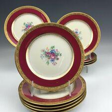 New ListingSet 10 Ahrenfeldt Limoges France Porcelain Red Gold Gilt Floral Salad Plates Ald