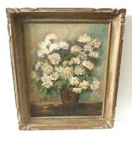 Original Antique Floral Daisies Oil Painting Lyne Klingelhoefer Lewis (b. 1897)