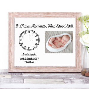 Personalised In These Moments Time Stood Still Photo Word Art Print New Baby