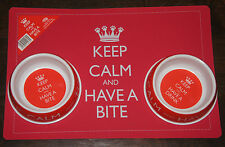DOG CAT FOOD AND WATER BOWL AND FEEDING MAT SET - KEEP CALM AND HAVE A BITE