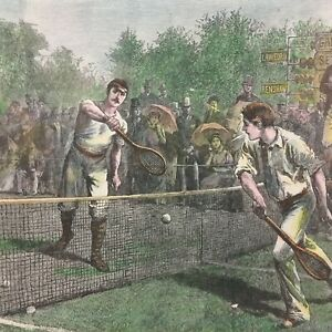 Vintage Framed Wall Art Tennis Championship Match at Wimbledon Print