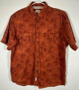 Men's Short Sleeve Shirt, Cabela's, Size XL, Orange Fish Trout Print Vented