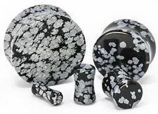 "Pair-Stone Obsidian Snowflake Double Flare Ear Plugs 22mm/7/8"" Gauge Body Jew"
