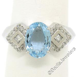 Platinum 2.42ctw Oval Aquamarine Solitaire Ring w/ Diamond Cluster Accents Sz 7
