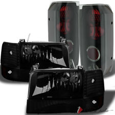 For 92-96 F150/F250, Bronco Darkside Black Smoked Headlights Set + Tail Lights