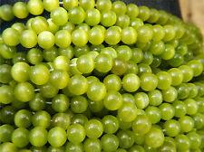 "65 Pcs CATS EYE 6mm GRADE ""A"" FIBER OPTIC Loose Beads  -  OLIVE GREEN"