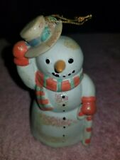 Snowman With Bell Ceramic Christmas Ornament Enesco 1993
