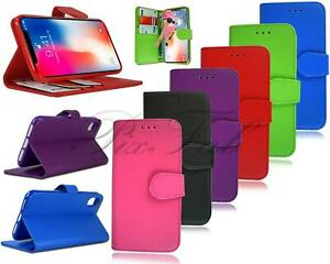 For Apple iPhone X New Genuine Leather Wallet Phone Case Cover +Tempered Glass