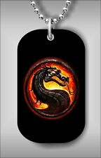 """ASIAN DRAGON IN FIRE SYMBOL LOGO DOG TAG PENDANT and """"FREE CHAIN"""" -ftr5Z"""
