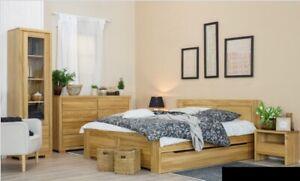Dormitorio Mueble 3tlg. Set Cama Mesillas 2x Camas Verdadero Madera Maciza