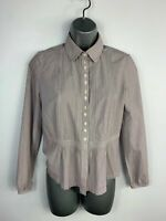 WOMENS JIGSAW PURPLE/WHITE STRIPE PLEATED SMART/CASUAL BLOUSE/SHIRT TOP SIZE 8
