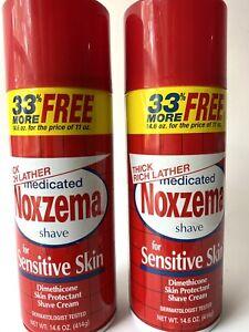 Lot Of 2 Noxzema MEDICATED Shave Cream for Sensitive Skin Shaving 14.6 Oz Each