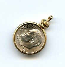 Vtg Dime USA 10 Cent Coin Holder Bezel Gold Tone Charm Pendant Screw On Top