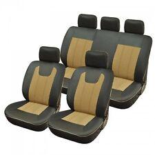 Housse pour siege voiture luxe bi couleur beige et noir compatible air bags