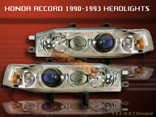 1990-1993 HONDA ACCORD PROJECTOR HEADLIGHTS CHROME BLUE NEW